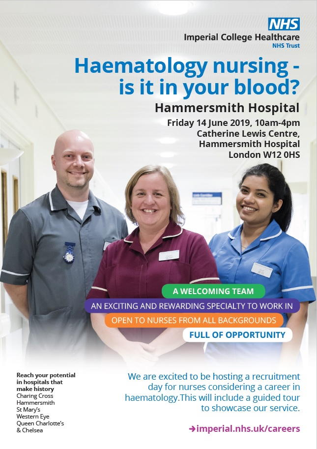 Haematology nurse recruitment open day 14 June 2019