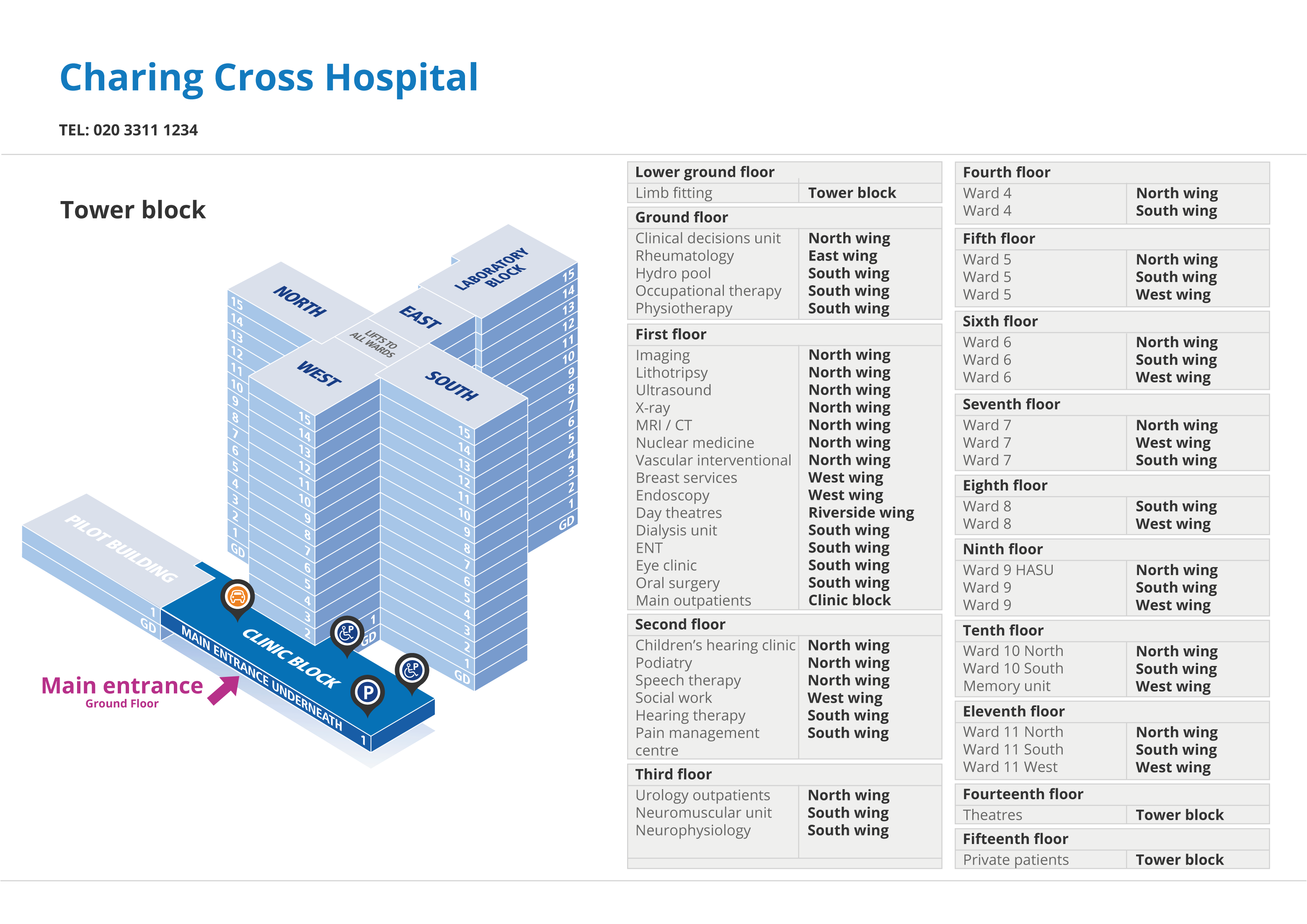 Charing Cross Hospital location map