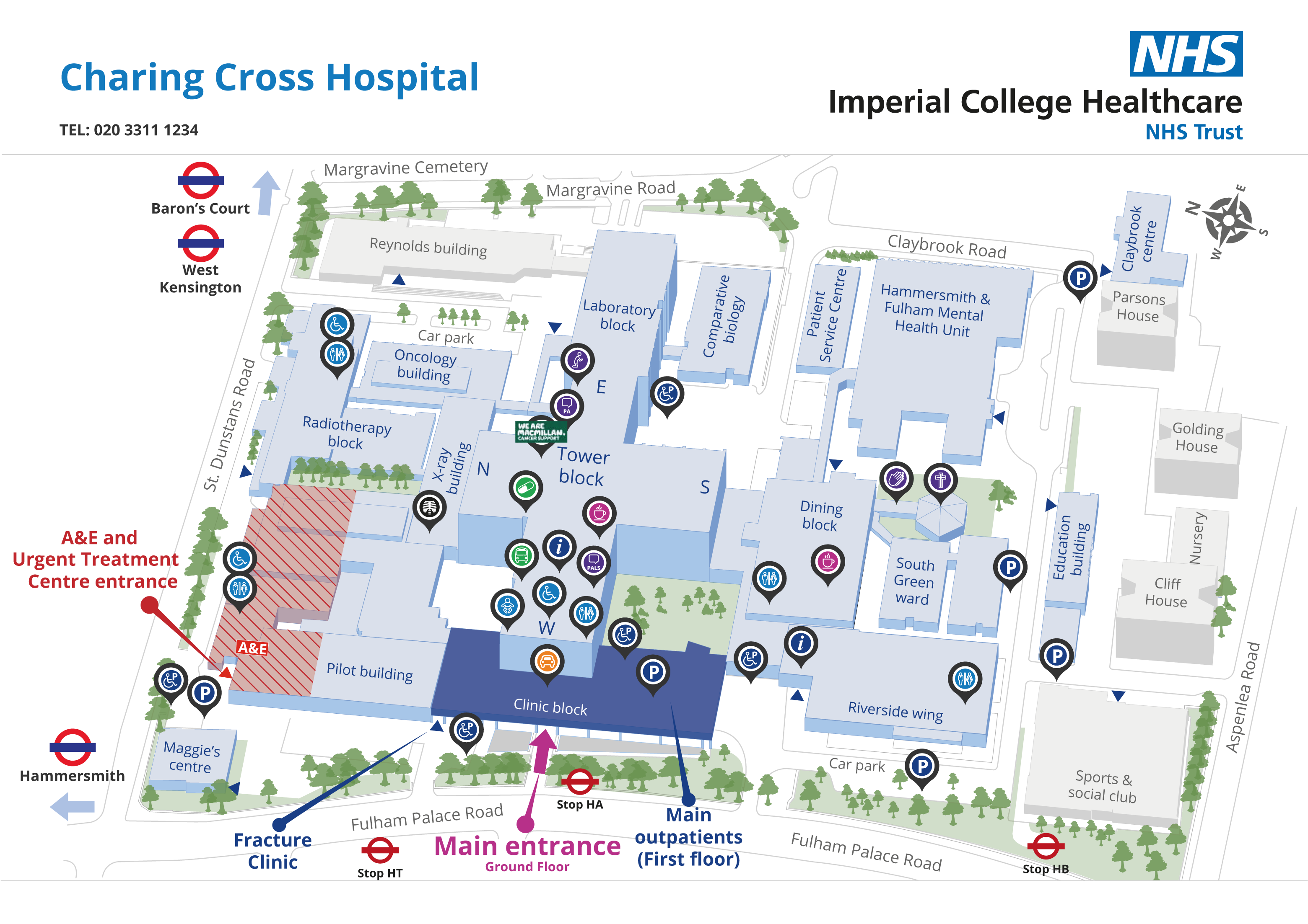 Charing Cross Hospital site map