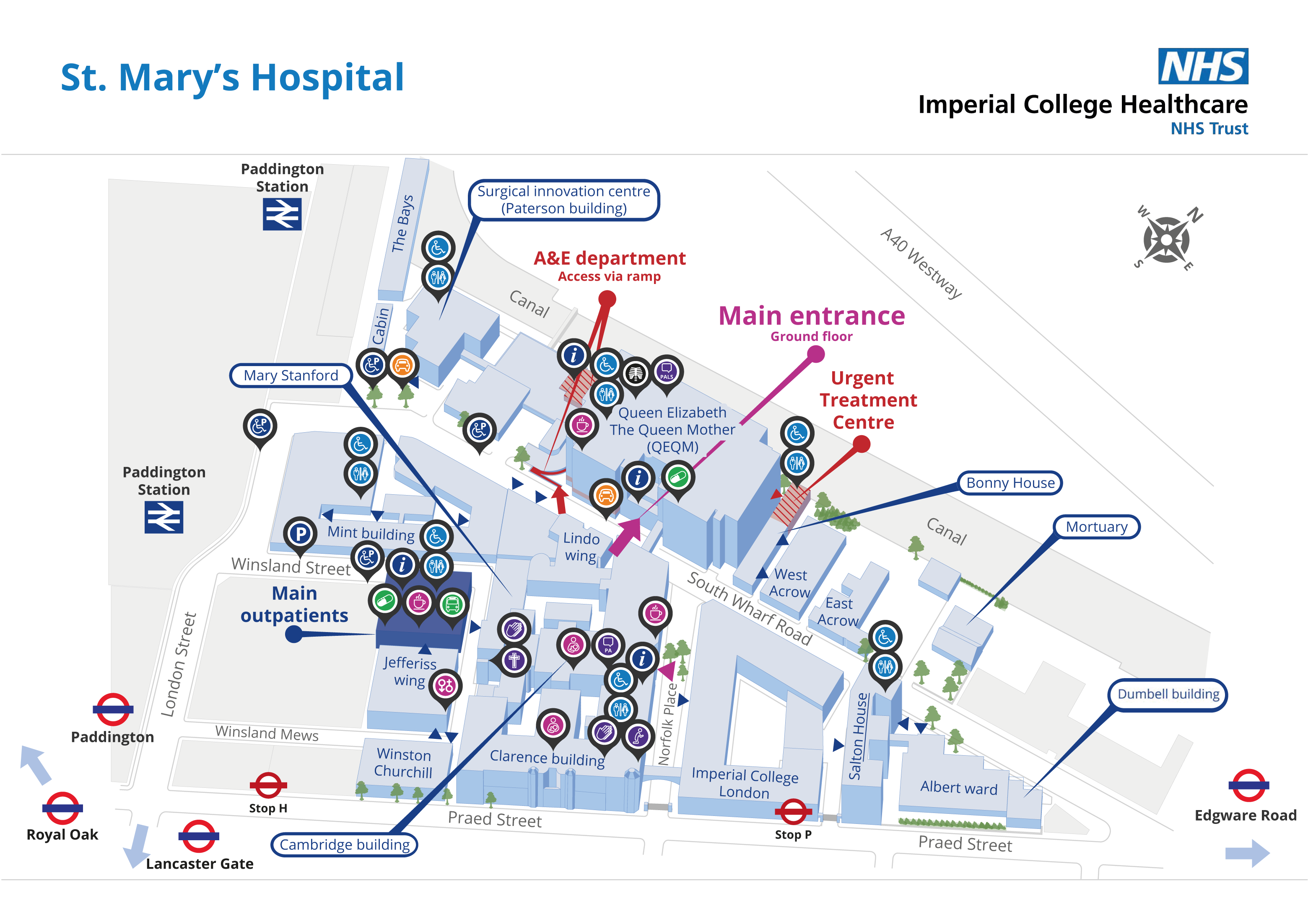 Queen Elizabeth House Imperial College Healthcare Hospital Map