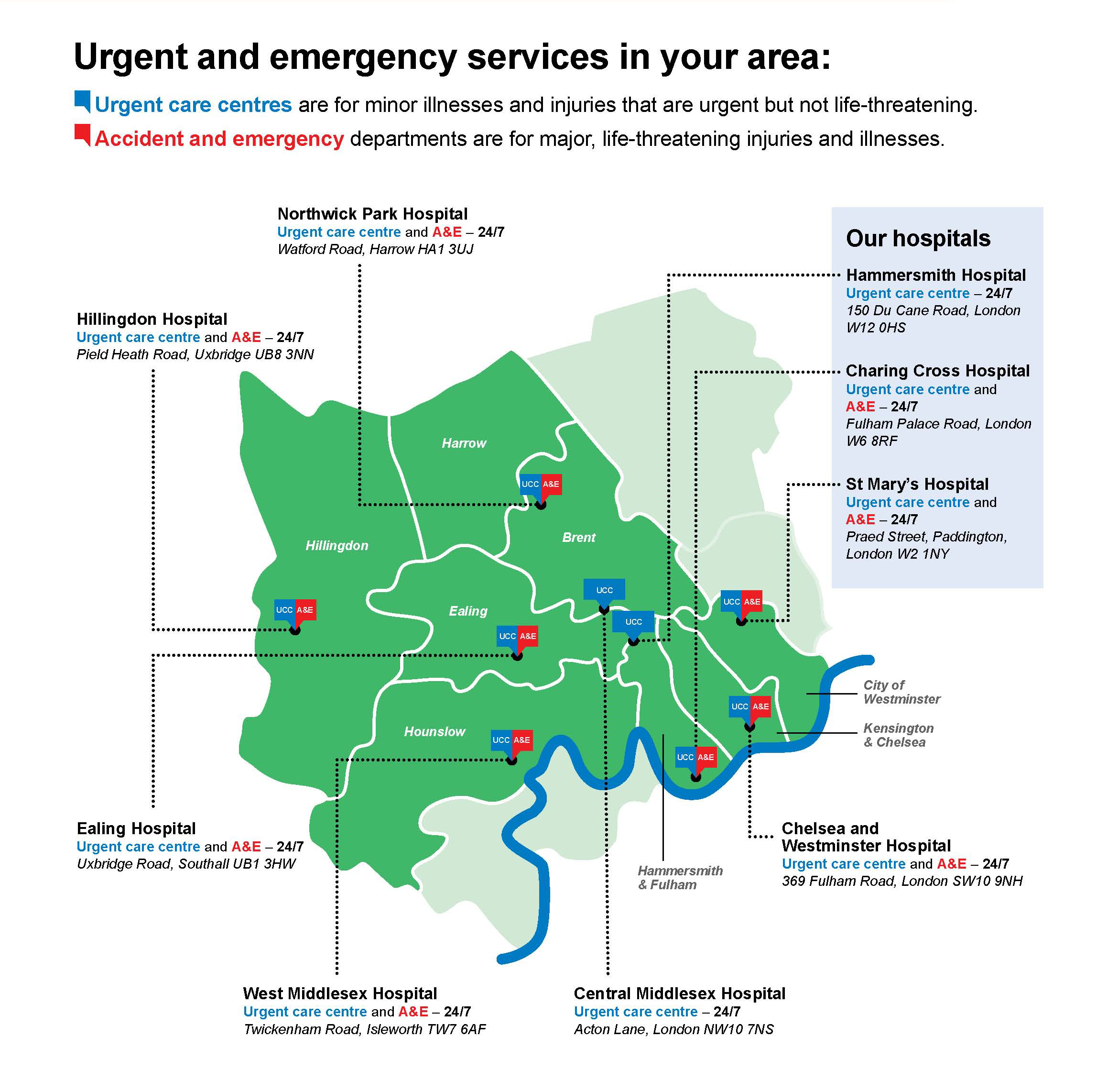 A map of urgent care centres in your area